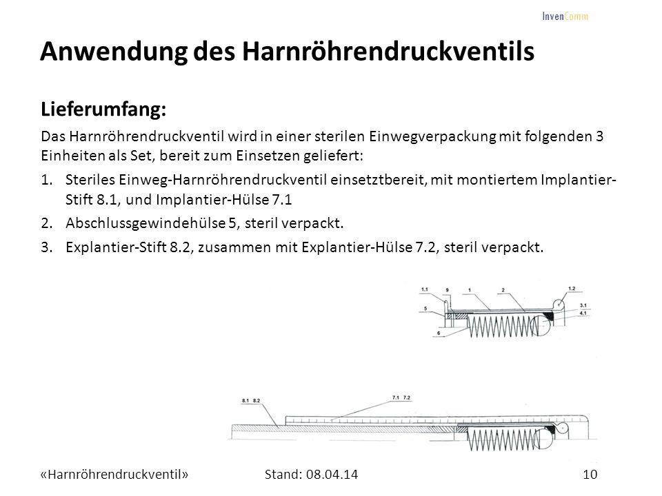 «Harnröhrendruckventil»10Stand: 08.04.14 InvenComm Anwendung des Harnröhrendruckventils Lieferumfang: Das Harnröhrendruckventil wird in einer sterilen