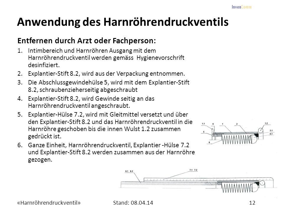 «Harnröhrendruckventil»12Stand: 08.04.14 InvenComm Anwendung des Harnröhrendruckventils Entfernen durch Arzt oder Fachperson: 1.Intimbereich und Harnr