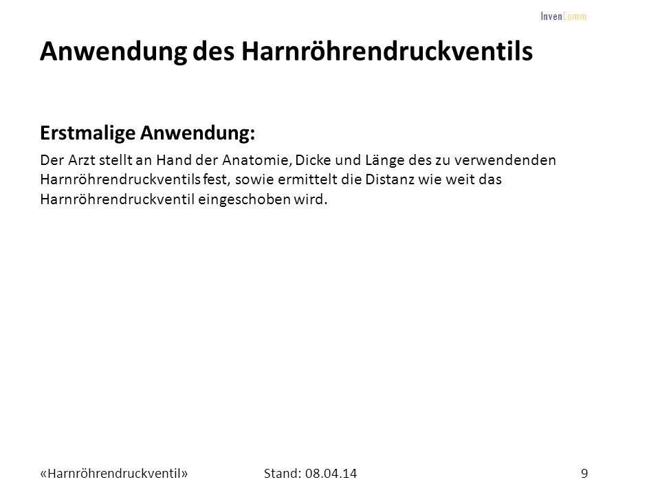 «Harnröhrendruckventil»9Stand: 08.04.14 InvenComm Anwendung des Harnröhrendruckventils Erstmalige Anwendung: Der Arzt stellt an Hand der Anatomie, Dic