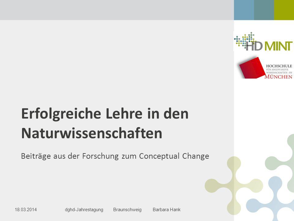 Erfolgreiche Lehre in den Naturwissenschaften Beiträge aus der Forschung zum Conceptual Change dghd-Jahrestagung Braunschweig Barbara Hank18.03.2014