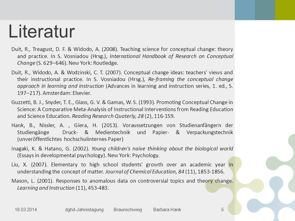 Literatur Duit, R., Treagust, D. F. & Widodo, A. (2008). Teaching science for conceptual change: theory and practice. In S. Vosniadou (Hrsg.), Interna
