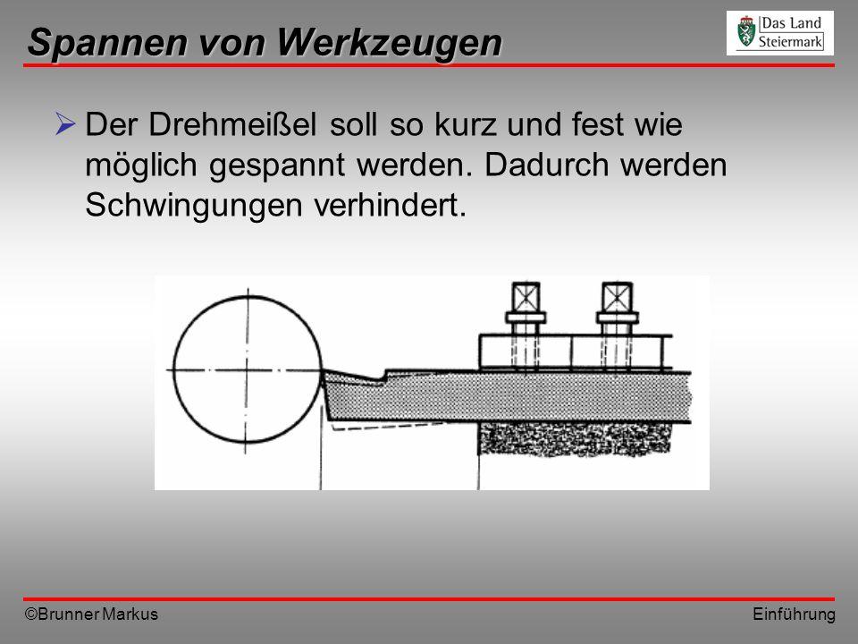 ©Brunner Markus Einführung Spannen von Werkzeugen Der Drehmeißel soll so kurz und fest wie möglich gespannt werden. Dadurch werden Schwingungen verhin