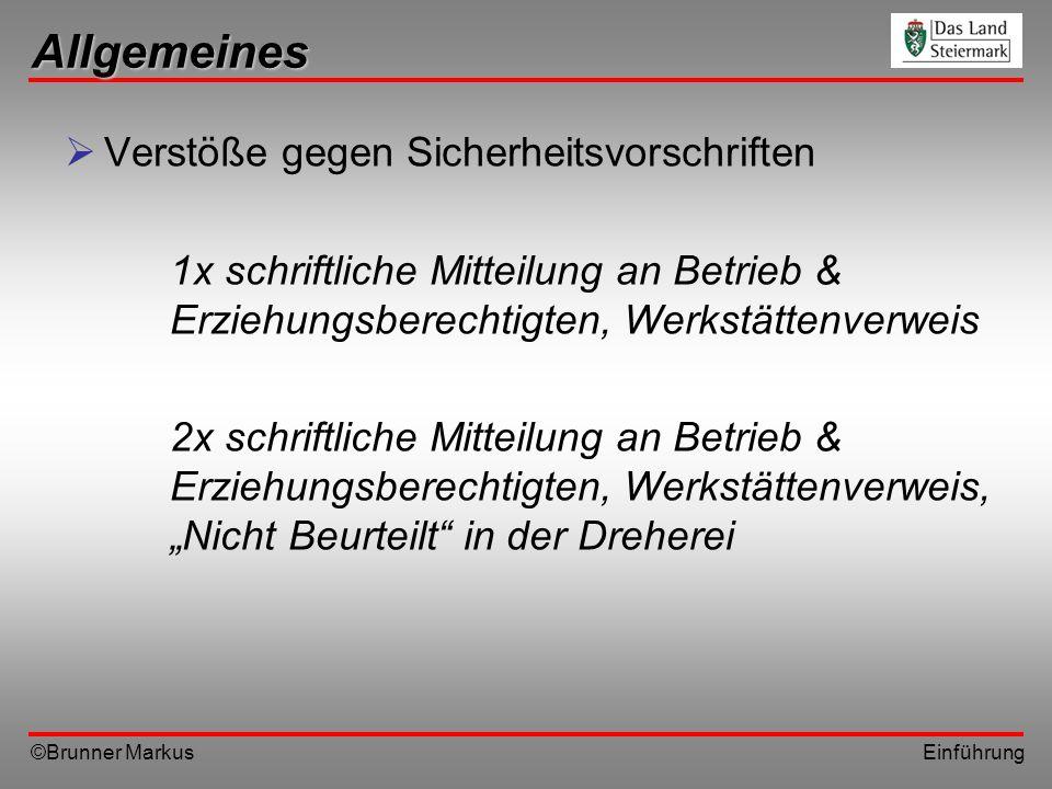 ©Brunner Markus Einführung Sicherheitsunterweisung Die Drehwerkzeuge nur an den vorgesehenen Plätzen ablegen; nie auf das Drehmaschinenbett oder auf Führungsflächen, da sonst Werkzeug oder Führungsbahnen beschädigt werden.