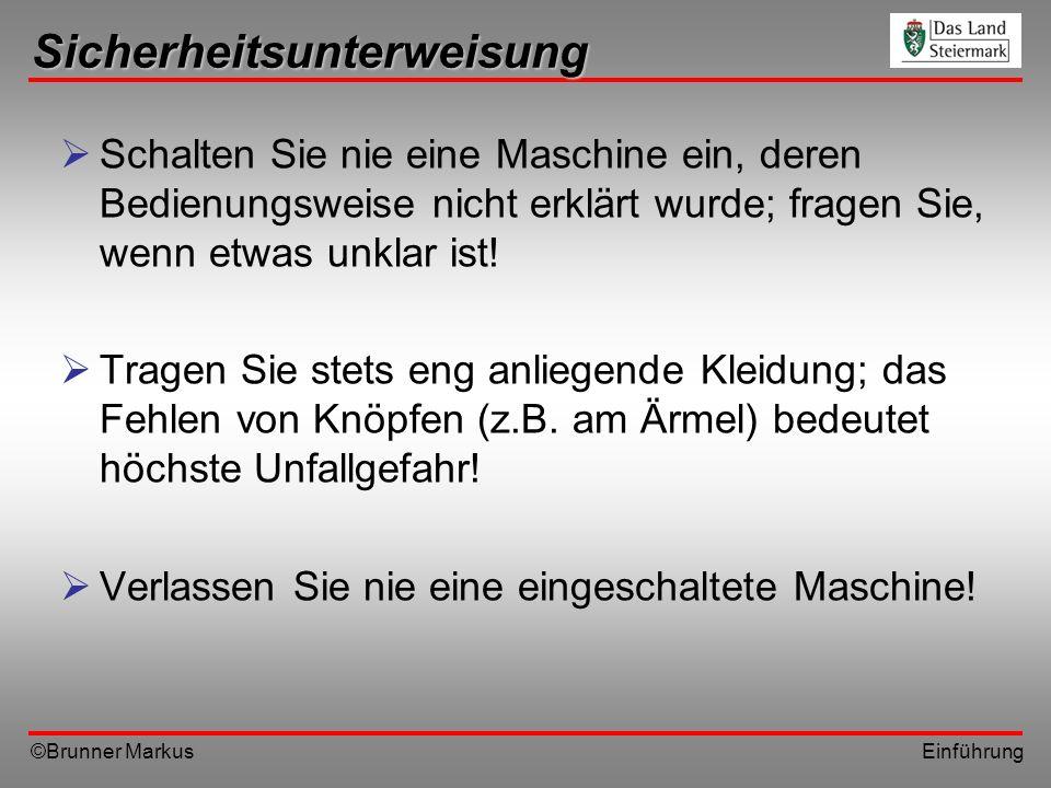 ©Brunner Markus Einführung Sicherheitsunterweisung Schalten Sie nie eine Maschine ein, deren Bedienungsweise nicht erklärt wurde; fragen Sie, wenn etw