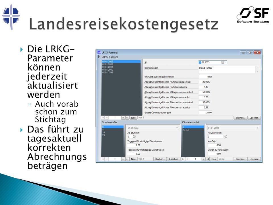 Die LRKG- Parameter können jederzeit aktualisiert werden Auch vorab schon zum Stichtag Das führt zu tagesaktuell korrekten Abrechnungs beträgen