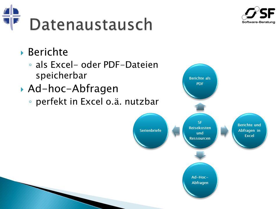 Berichte als Excel- oder PDF-Dateien speicherbar Ad-hoc-Abfragen perfekt in Excel o.ä. nutzbar SF Reisekosten und Ressourcen Berichte als PDF Berichte