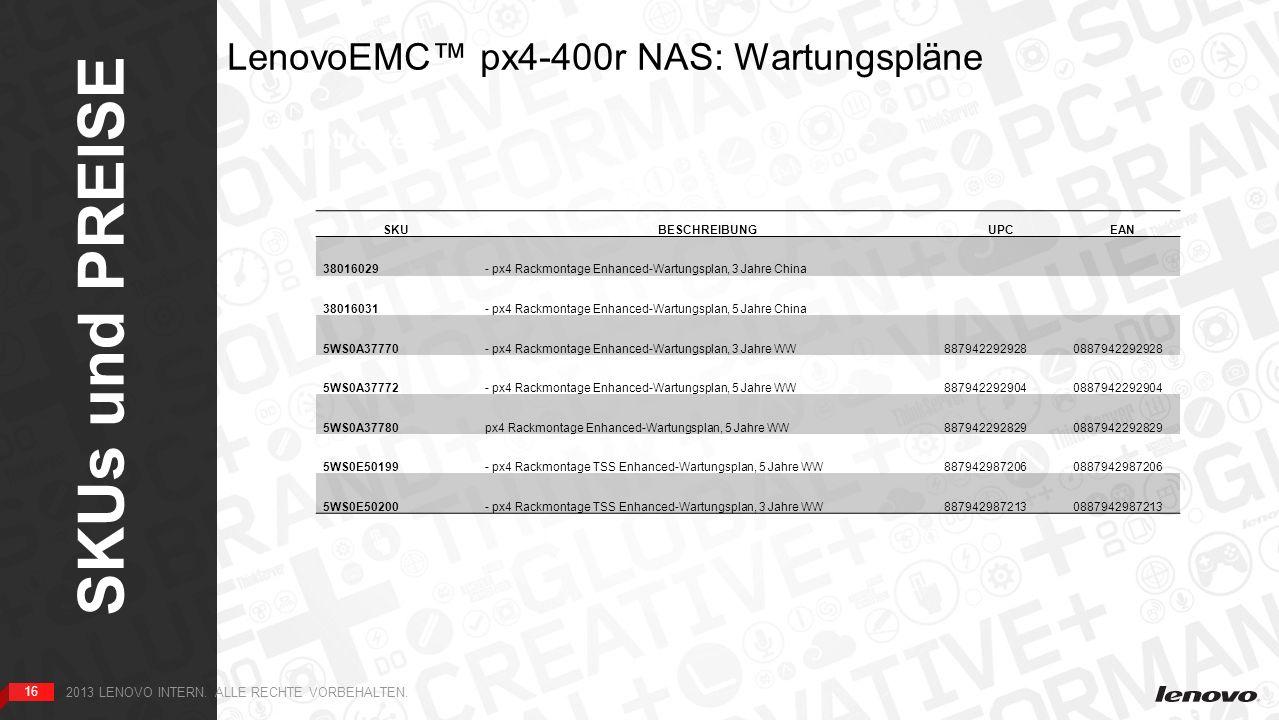 16 SKUs und PREISE 16 2013 LENOVO INTERN. ALLE RECHTE VORBEHALTEN.