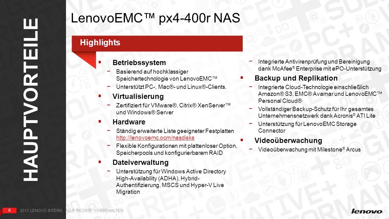 7 UMGEBUNG 7 2013 LENOVO INTERN. ALLE RECHTE VORBEHALTEN. LenovoEMC px4-400r NAS: Umgebung