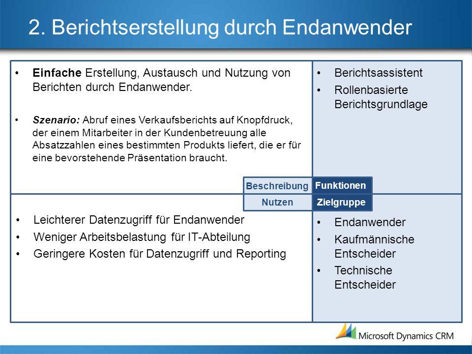 2. Berichtserstellung durch Endanwender Einfache Erstellung, Austausch und Nutzung von Berichten durch Endanwender. Szenario: Abruf eines Verkaufsberi