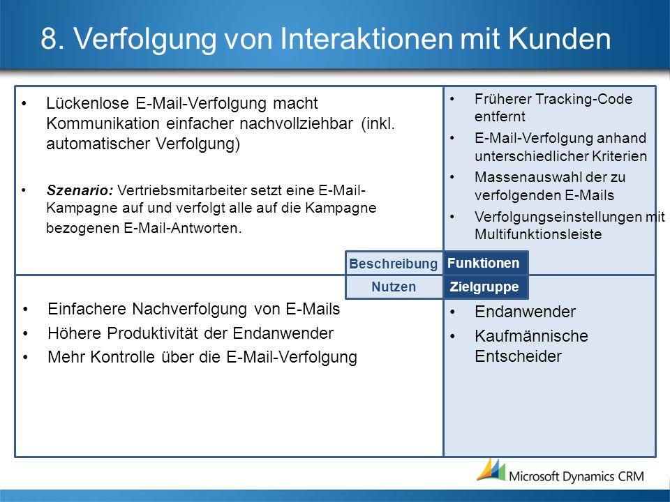 8. Verfolgung von Interaktionen mit Kunden Lückenlose E-Mail-Verfolgung macht Kommunikation einfacher nachvollziehbar (inkl. automatischer Verfolgung)