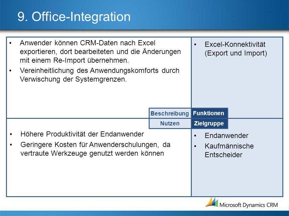 9. Office-Integration Anwender können CRM-Daten nach Excel exportieren, dort bearbeiteten und die Änderungen mit einem Re-Import übernehmen. Vereinhei