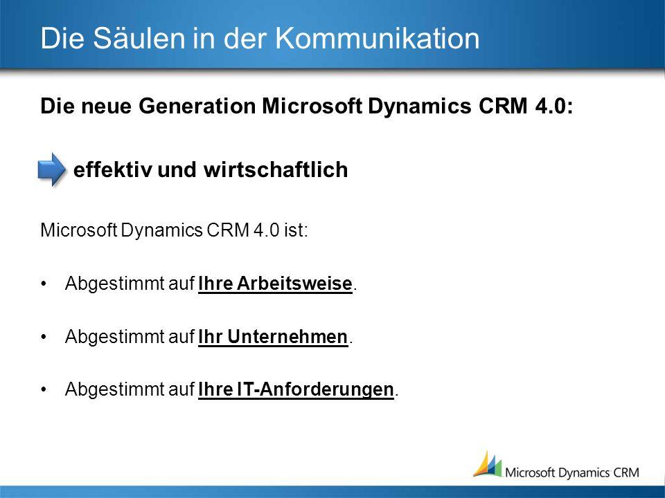 Die Säulen in der Kommunikation Die neue Generation Microsoft Dynamics CRM 4.0: effektiv und wirtschaftlich Microsoft Dynamics CRM 4.0 ist: Abgestimmt