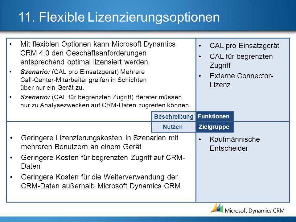 11. Flexible Lizenzierungsoptionen Mit flexiblen Optionen kann Microsoft Dynamics CRM 4.0 den Geschäftsanforderungen entsprechend optimal lizensiert w