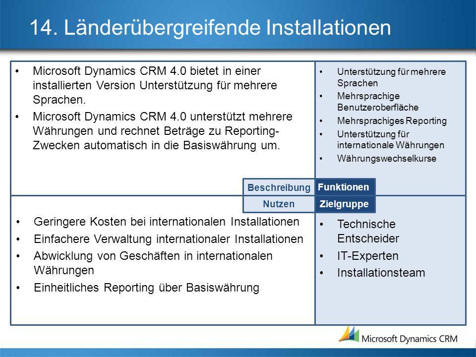 14. Länderübergreifende Installationen Microsoft Dynamics CRM 4.0 bietet in einer installierten Version Unterstützung für mehrere Sprachen. Microsoft