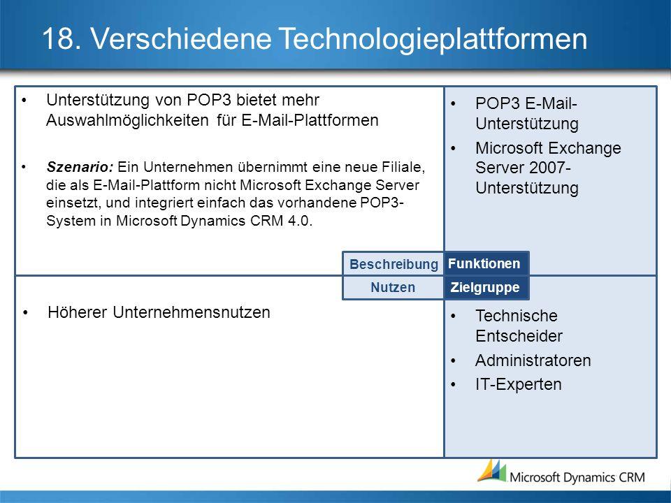 18. Verschiedene Technologieplattformen Unterstützung von POP3 bietet mehr Auswahlmöglichkeiten für E-Mail-Plattformen Szenario: Ein Unternehmen übern