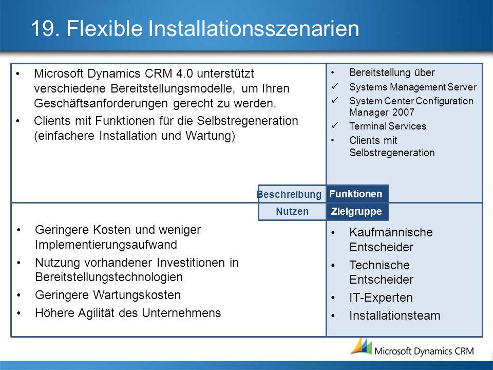 19. Flexible Installationsszenarien Microsoft Dynamics CRM 4.0 unterstützt verschiedene Bereitstellungsmodelle, um Ihren Geschäftsanforderungen gerech