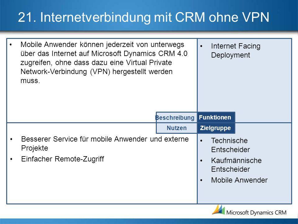 21. Internetverbindung mit CRM ohne VPN Mobile Anwender können jederzeit von unterwegs über das Internet auf Microsoft Dynamics CRM 4.0 zugreifen, ohn