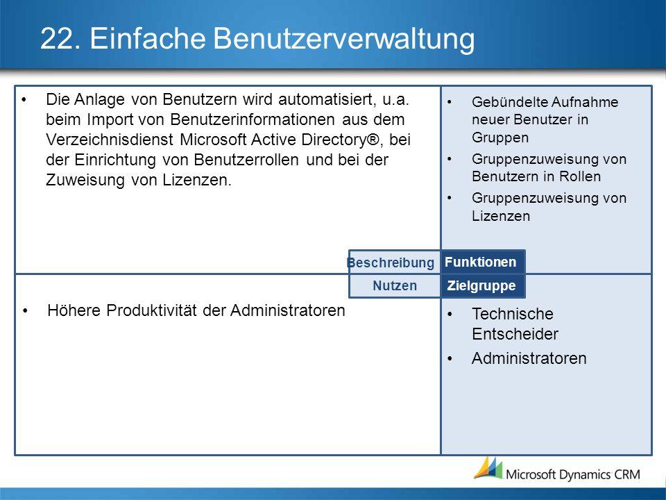 22. Einfache Benutzerverwaltung Die Anlage von Benutzern wird automatisiert, u.a. beim Import von Benutzerinformationen aus dem Verzeichnisdienst Micr