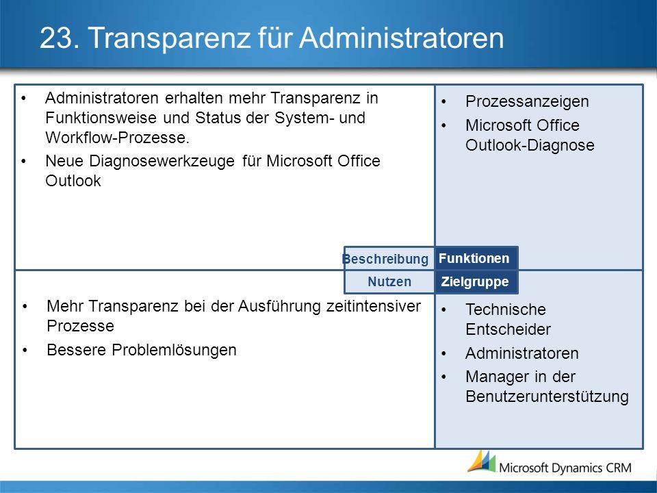23. Transparenz für Administratoren Administratoren erhalten mehr Transparenz in Funktionsweise und Status der System- und Workflow-Prozesse. Neue Dia
