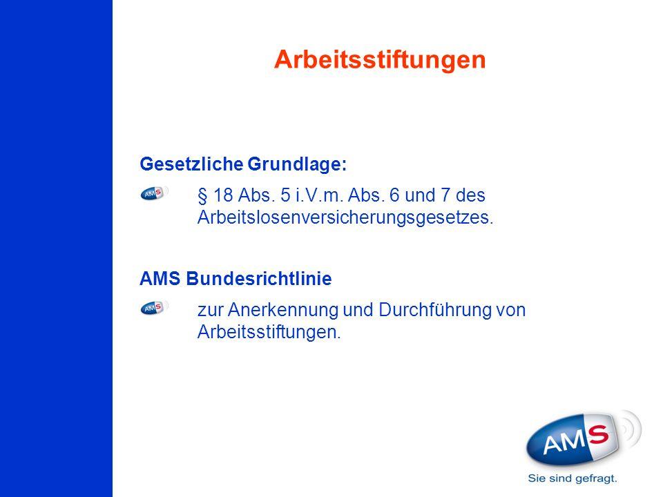 Gesetzliche Grundlage: § 18 Abs. 5 i.V.m. Abs. 6 und 7 des Arbeitslosenversicherungsgesetzes. AMS Bundesrichtlinie zur Anerkennung und Durchführung vo