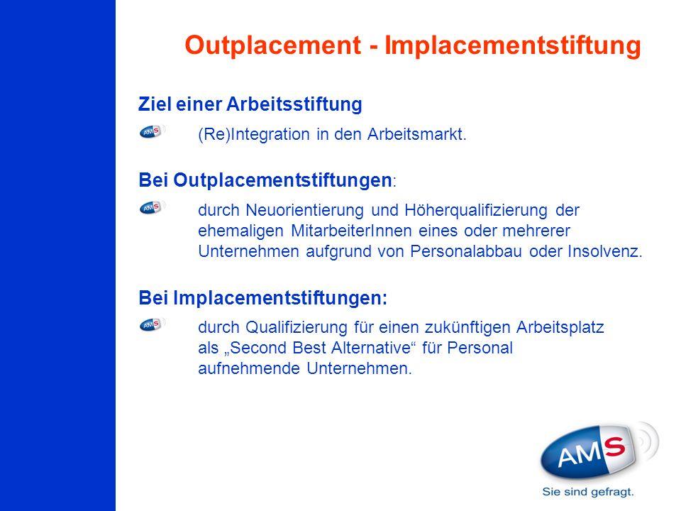 Ziel einer Arbeitsstiftung (Re)Integration in den Arbeitsmarkt. Bei Outplacementstiftungen : durch Neuorientierung und Höherqualifizierung der ehemali