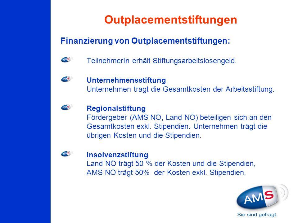 Finanzierung von Outplacementstiftungen: TeilnehmerIn erhält Stiftungsarbeitslosengeld. Unternehmensstiftung Unternehmen trägt die Gesamtkosten der Ar