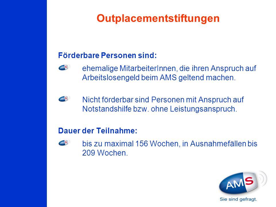 Förderbare Personen sind: ehemalige MitarbeiterInnen, die ihren Anspruch auf Arbeitslosengeld beim AMS geltend machen. Nicht förderbar sind Personen m
