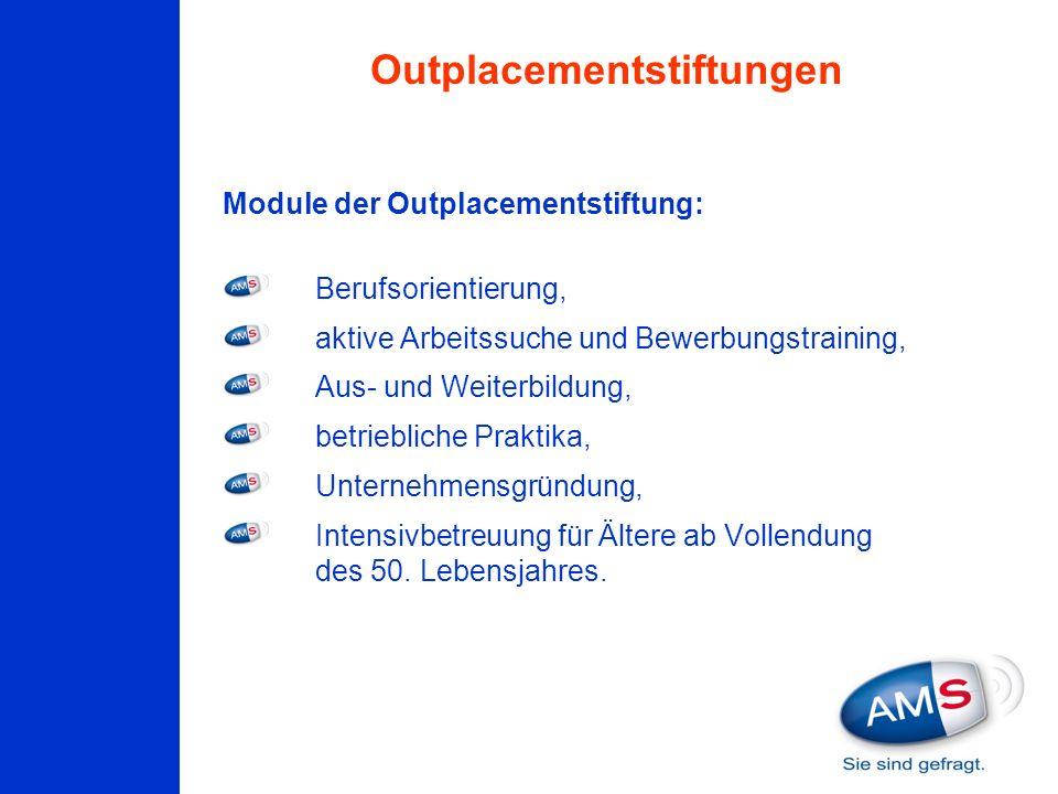 Module der Outplacementstiftung: Berufsorientierung, aktive Arbeitssuche und Bewerbungstraining, Aus- und Weiterbildung, betriebliche Praktika, Untern