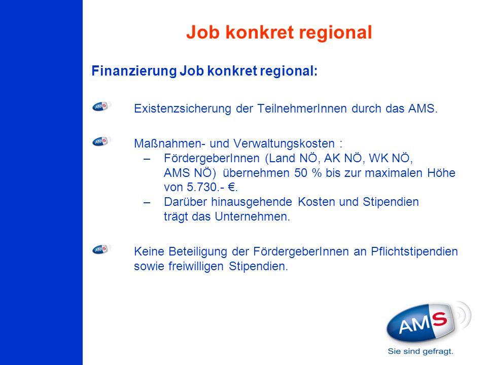 Finanzierung Job konkret regional: Existenzsicherung der TeilnehmerInnen durch das AMS. Maßnahmen- und Verwaltungskosten : –FördergeberInnen (Land NÖ,