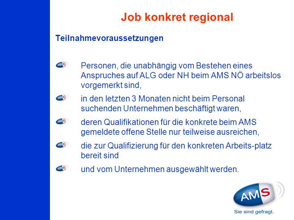 Teilnahmevoraussetzungen Personen, die unabhängig vom Bestehen eines Anspruches auf ALG oder NH beim AMS NÖ arbeitslos vorgemerkt sind, in den letzten