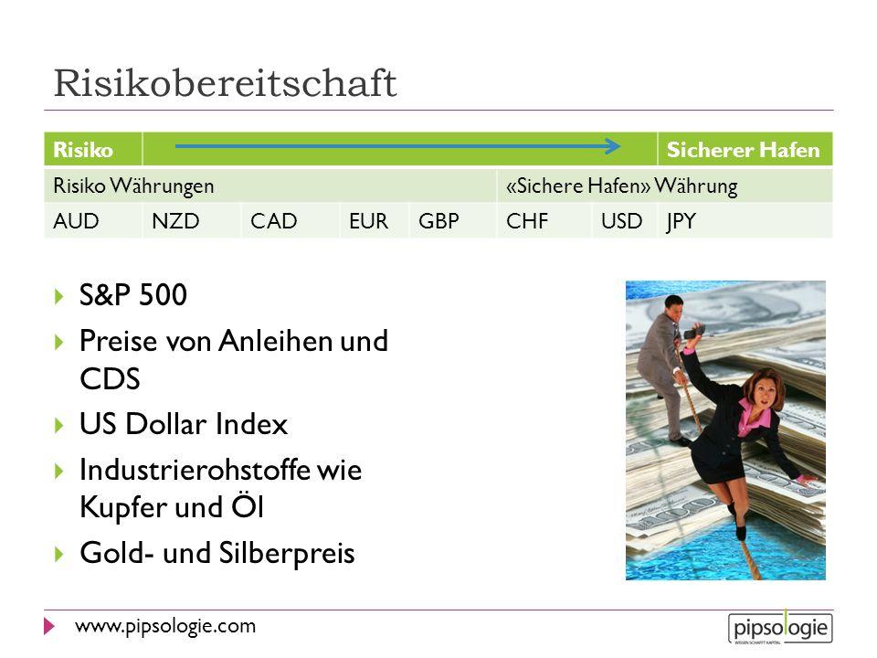 www.pipsologie.com Risikobereitschaft S&P 500 Preise von Anleihen und CDS US Dollar Index Industrierohstoffe wie Kupfer und Öl Gold- und Silberpreis R