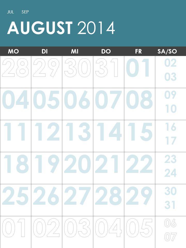 Hinweis: Sie können diese Vorlage drucken und als Wandkalender verwenden.