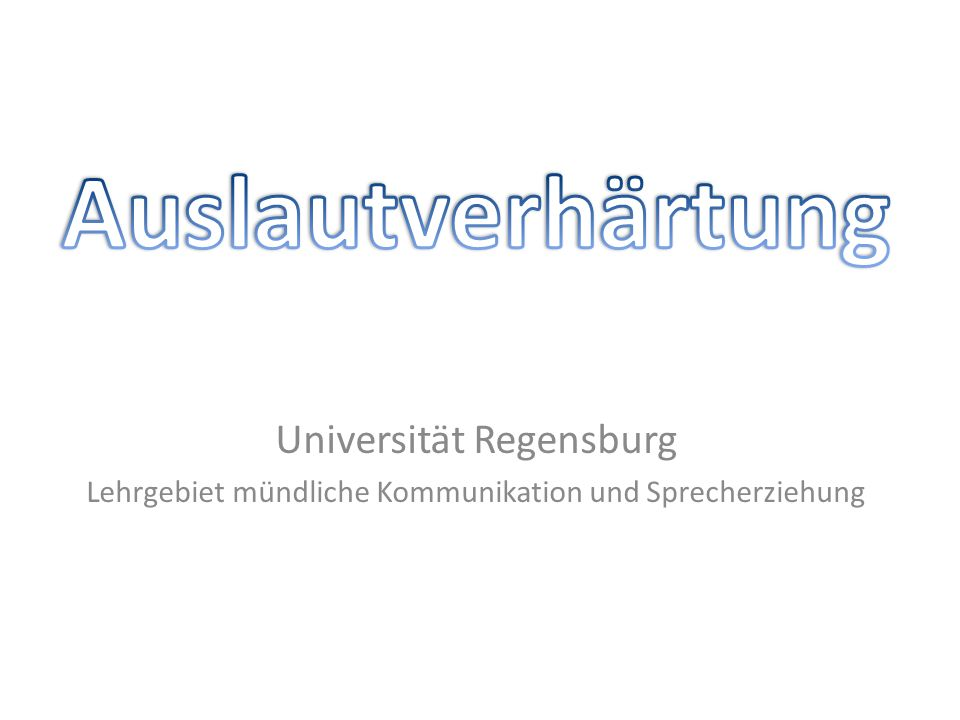 Universität Regensburg Lehrgebiet mündliche Kommunikation und Sprecherziehung