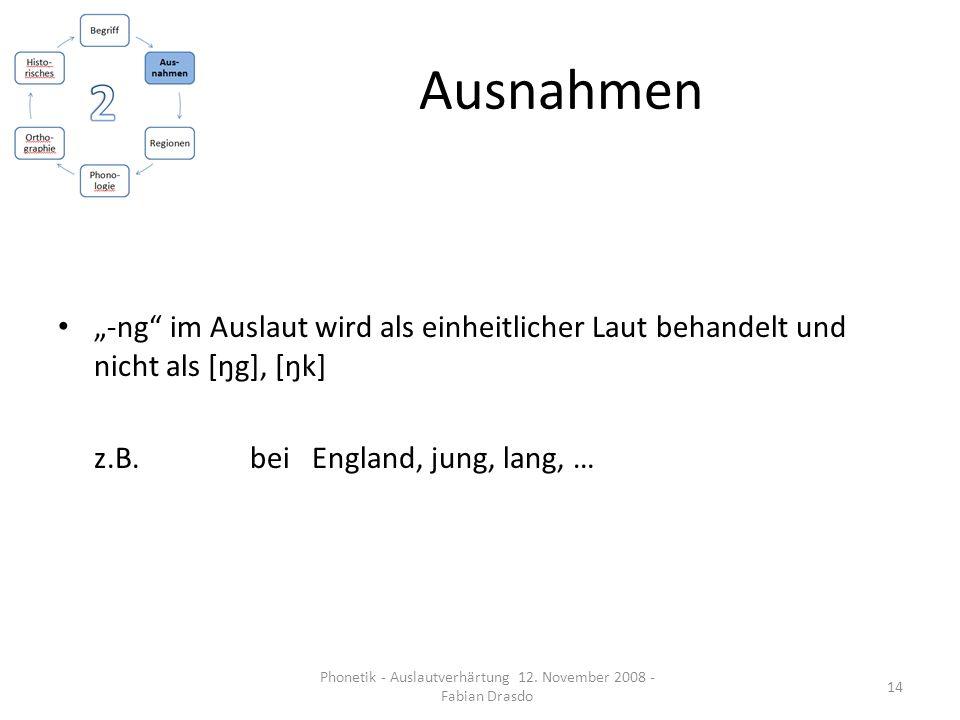 Ausnahmen -ng im Auslaut wird als einheitlicher Laut behandelt und nicht als [ŋg], [ŋk] z.B. bei England, jung, lang, … 14 Phonetik - Auslautverhärtun