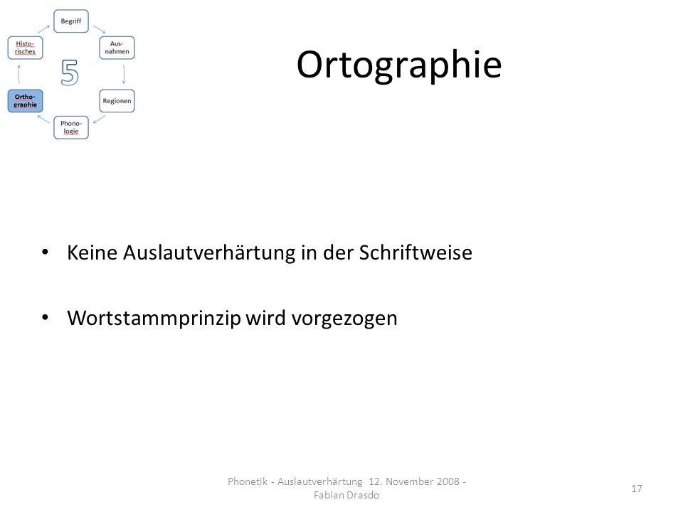 Ortographie Keine Auslautverhärtung in der Schriftweise Wortstammprinzip wird vorgezogen 17 Phonetik - Auslautverhärtung 12. November 2008 - Fabian Dr