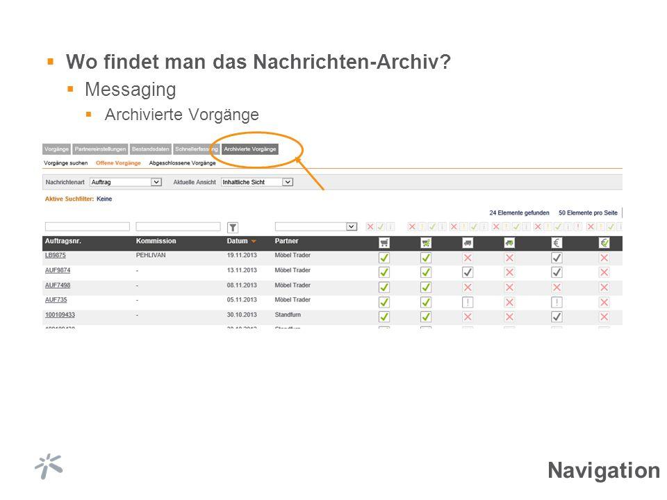 Wo findet man das Nachrichten-Archiv? Messaging Archivierte Vorgänge Navigation