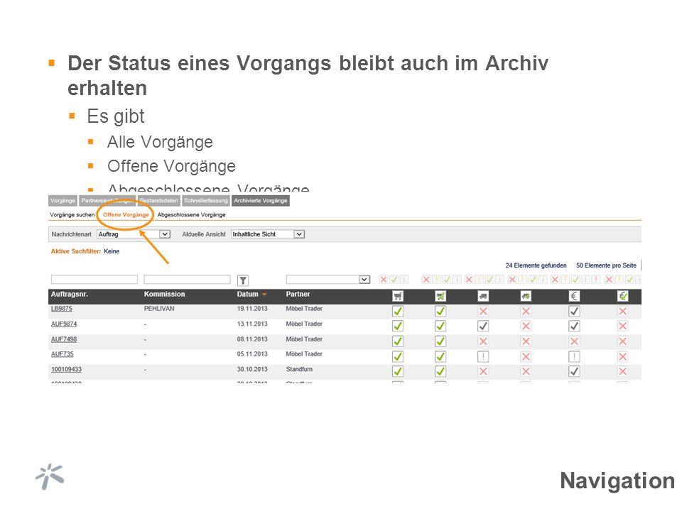 Der Status eines Vorgangs bleibt auch im Archiv erhalten Es gibt Alle Vorgänge Offene Vorgänge Abgeschlossene Vorgänge Navigation