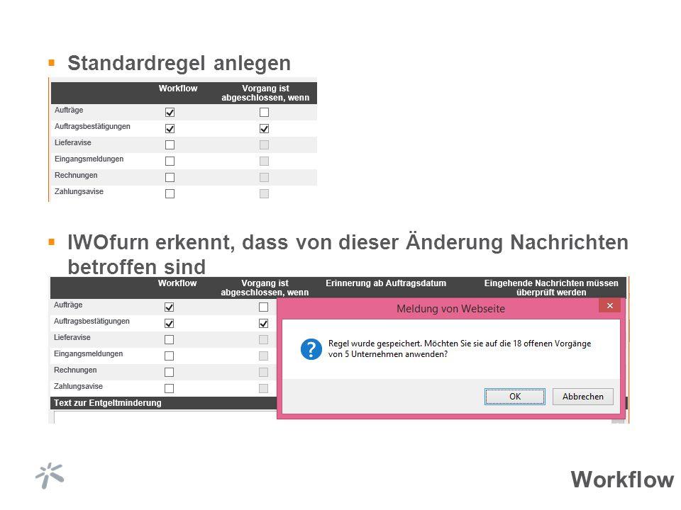 Standardregel anlegen IWOfurn erkennt, dass von dieser Änderung Nachrichten betroffen sind Workflow
