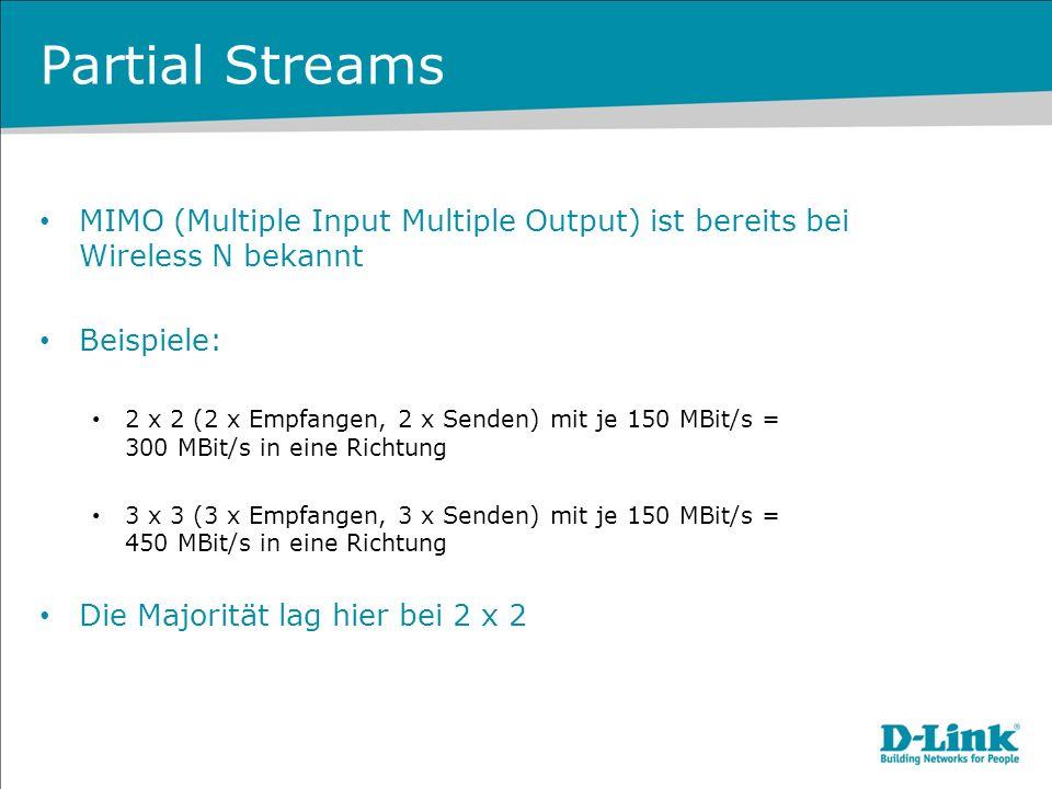 Partial Streams MIMO (Multiple Input Multiple Output) ist bereits bei Wireless N bekannt Beispiele: 2 x 2 (2 x Empfangen, 2 x Senden) mit je 150 MBit/