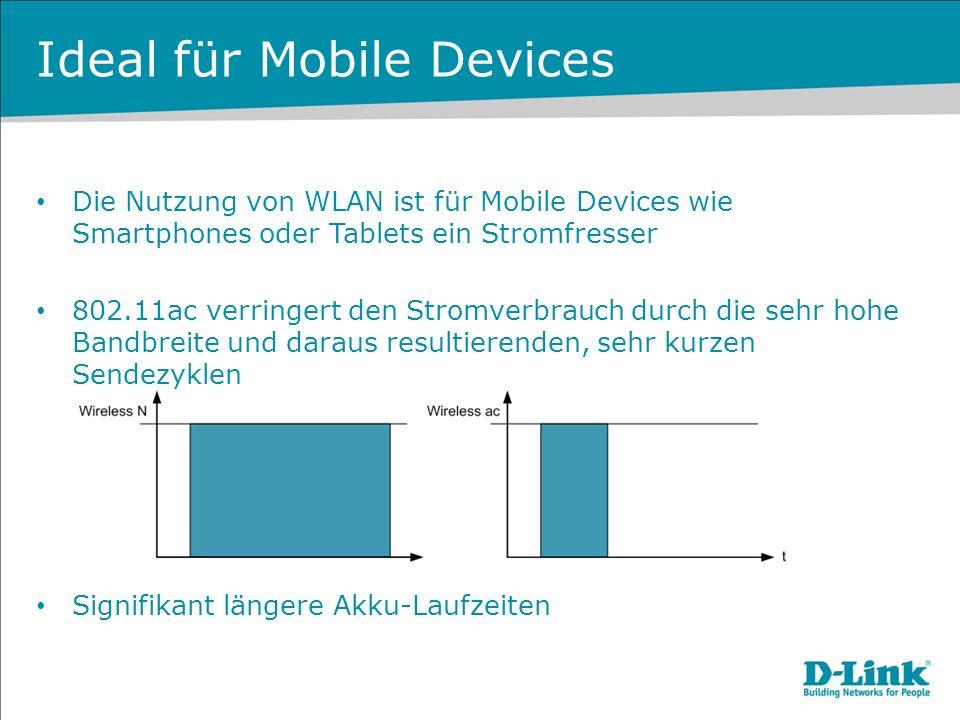 Ideal für Mobile Devices Die Nutzung von WLAN ist für Mobile Devices wie Smartphones oder Tablets ein Stromfresser 802.11ac verringert den Stromverbra