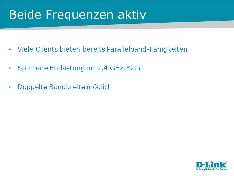 Beide Frequenzen aktiv Viele Clients bieten bereits Parallelband-Fähigkeiten Spürbare Entlastung im 2,4 GHz-Band Doppelte Bandbreite möglich