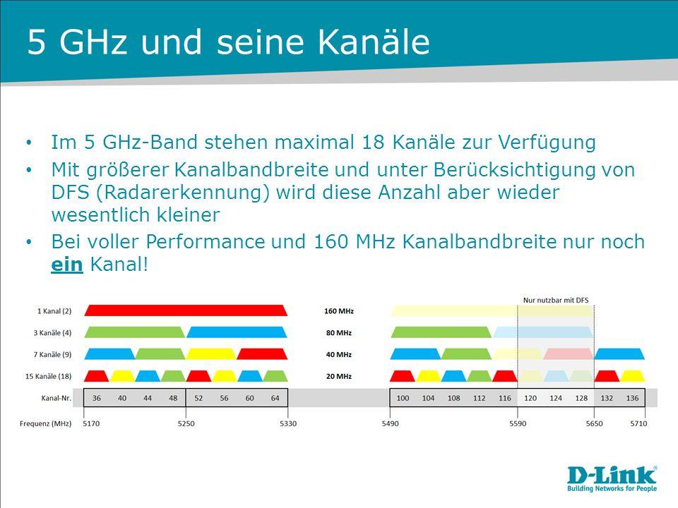 5 GHz und seine Kanäle Im 5 GHz-Band stehen maximal 18 Kanäle zur Verfügung Mit größerer Kanalbandbreite und unter Berücksichtigung von DFS (Radarerke