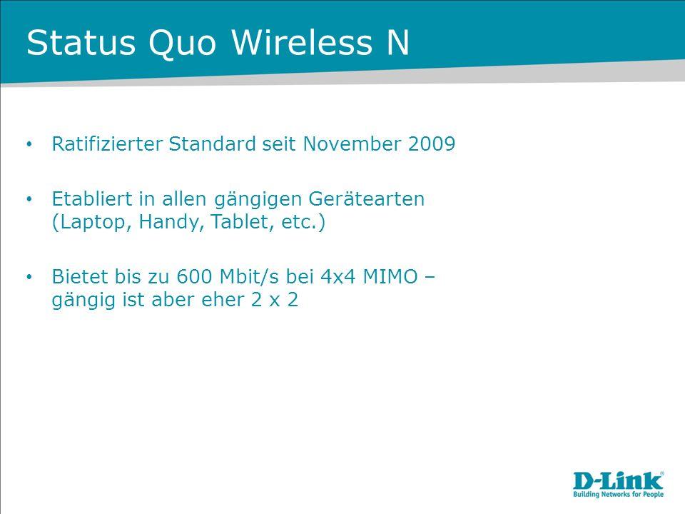 Status Quo Wireless N Ratifizierter Standard seit November 2009 Etabliert in allen gängigen Gerätearten (Laptop, Handy, Tablet, etc.) Bietet bis zu 60