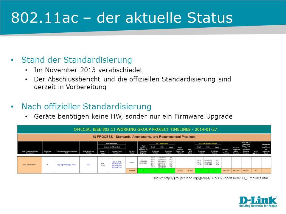 802.11ac – der aktuelle Status Stand der Standardisierung Im November 2013 verabschiedet Der Abschlussbericht und die offiziellen Standardisierung sin