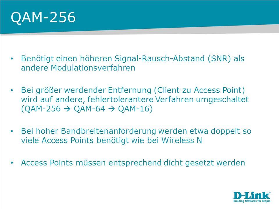 Benötigt einen höheren Signal-Rausch-Abstand (SNR) als andere Modulationsverfahren Bei größer werdender Entfernung (Client zu Access Point) wird auf a