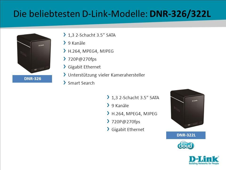 DNR-326 DNR-322L Die beliebtesten D-Link-Modelle: DNR-326/322L 1,3 2-Schacht 3.5 SATA 9 Kanäle H.264, MPEG4, MJPEG 720P@270fps Gigabit Ethernet Unters