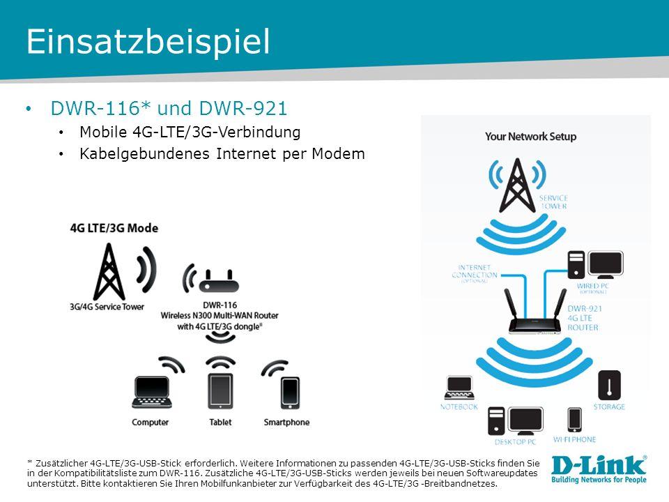 Einsatzbeispiel DWR-116* und DWR-921 Mobile 4G-LTE/3G-Verbindung Kabelgebundenes Internet per Modem * Zusätzlicher 4G-LTE/3G-USB-Stick erforderlich.