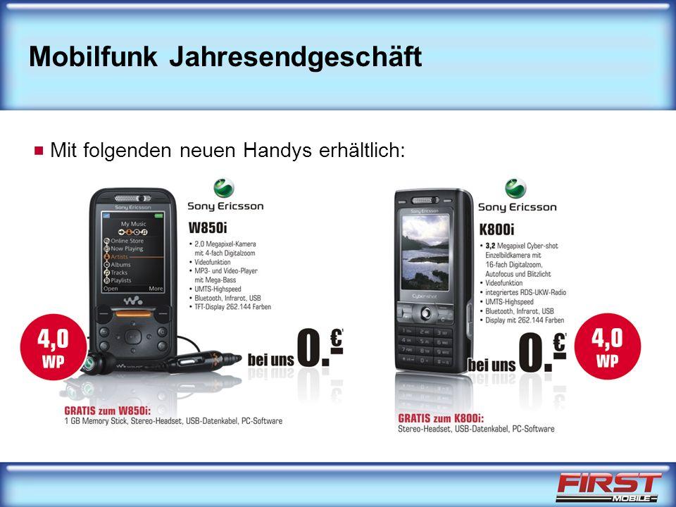 Mobilfunk Jahresendgeschäft Mit folgenden neuen Handys erhältlich: