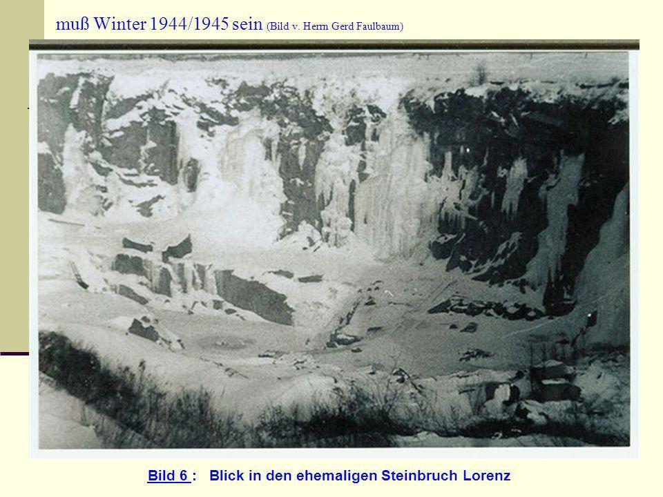 muß Winter 1944/1945 sein (Bild v. Herrn Gerd Faulbaum) Bild 6 : Blick in den ehemaligen Steinbruch Lorenz