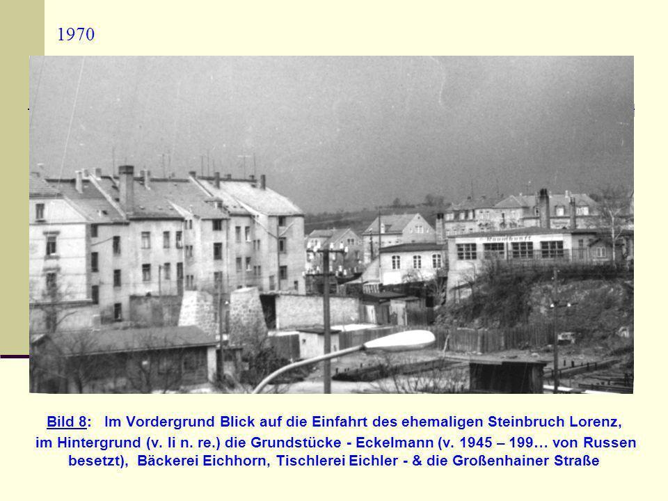 1970 Bild 8: Im Vordergrund Blick auf die Einfahrt des ehemaligen Steinbruch Lorenz, im Hintergrund (v. li n. re.) die Grundstücke - Eckelmann (v. 194